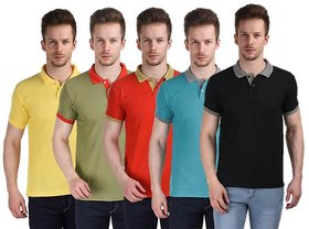 Pack of 5 Multi Polo Neck  Mens T-Shirt by Stylogue