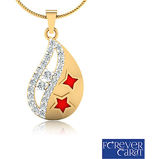 0.34ct Natural White Diamond Studded Pendant 14K Hallmarked Gold Pendant P-0116G