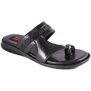 Balujas Mens Black Slip On Sandals