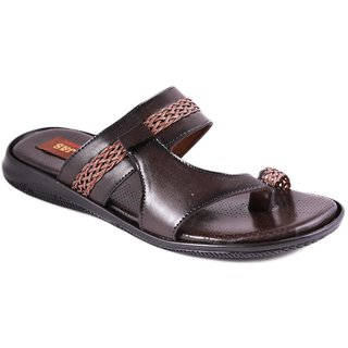 Balujas Mens Brown Slip On Sandals