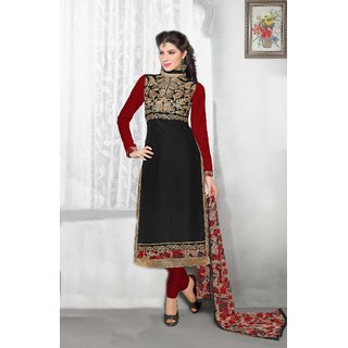 LADYVIEW Black Embroidery Chanderi Cotton Dress Material