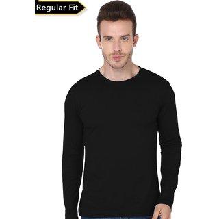 Black Solid Round Neck T-Shirts