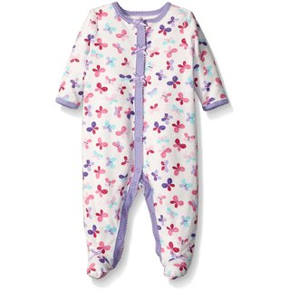 Baby Butterfly Terry Cloth Sleep N Play, Pale Lavender, 3-6 Months