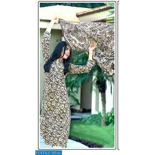 Thankar Olive Green  Cream Printed Cotton Dress Material