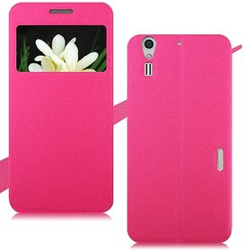 Heartly GoldSand Sparkle Luxury PU Leather Window Flip Stand Back Case Cover For ZTE Grand S2 II S291 S251 - Cute Pink