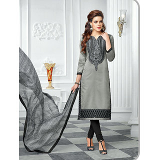 LADYVIEW Grey Embroidery Chanderi Cotton Dress Material