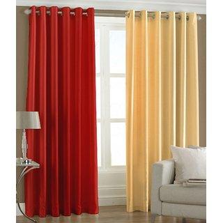Exclusive Set of 2 Plain Red + Cream Long Door Curtain