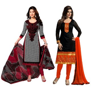Ladyview Combo One Red  Black Printed Dress Material And Black  Orange Printed Polycotton Dress Material