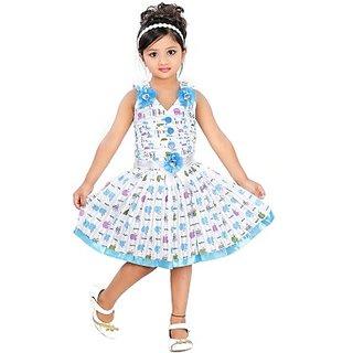 NIKUNJ FASHION Girls Layered Blue Dress
