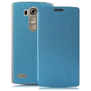 Heartly Premium Luxury PU Leather Flip Stand Best Back Case Cover For LG G4 Beat - Power Blue
