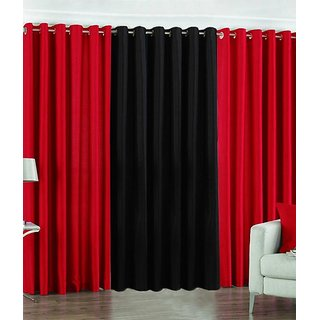 Exclusive Set of 3 Plain (2 Red + Black) Long Door Curtain
