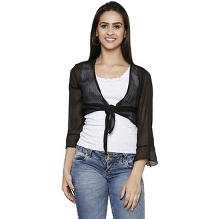 ESPRESSO WOMENS CHIFFON SHORT SHRUG-BLACK