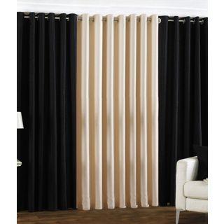 Exclusive Set of 3 Plain (2 Black + Cream) Window Curtain