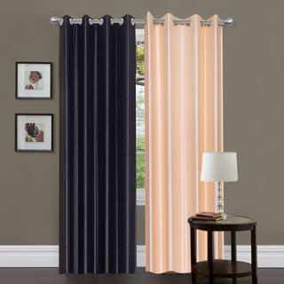 Exclusive Set of 2 Plain Black + Cream Window Curtain