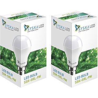 Syska Led Lights 9 W LED 6500K Cool Day Light Combo Bulb White, Pack of 2  String and Strip Lights