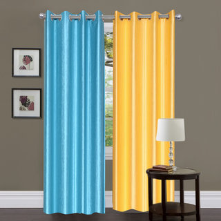 Exclusive Set of 2 Plain Sky Blue + Yellow Window Curtain