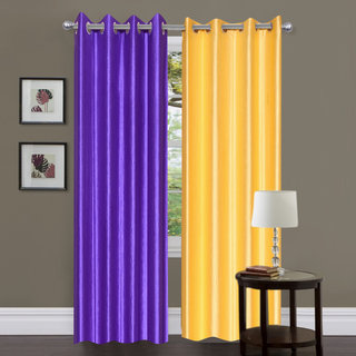 Exclusive Set of 2 Plain Purple + Yellow Window Curtain