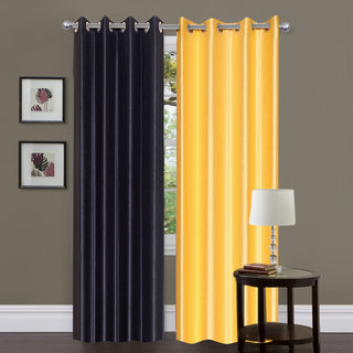 Exclusive Set of 2 Plain Black + Yellow Window Curtain