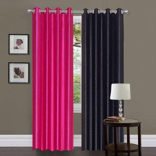 Exclusive Set of 2 Plain Dark Pink + Black Window Curtain