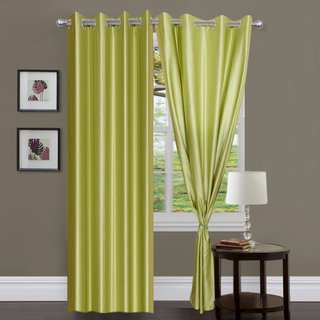 Exclusive Set of 2 Plain Green Window Curtain