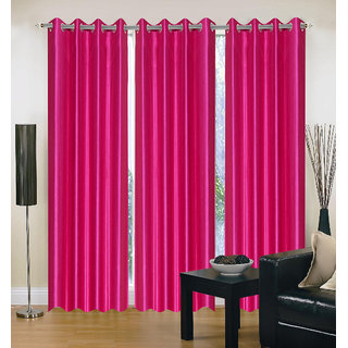 Exclusive Set of 3 Plain Dark Pink Window Curtain