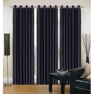 Exclusive Set of 3 Plain Black Window Curtain