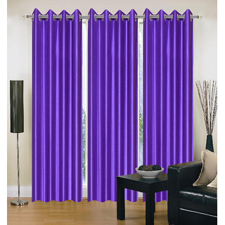 Exclusive Set of 3 Plain Purple Window Curtain