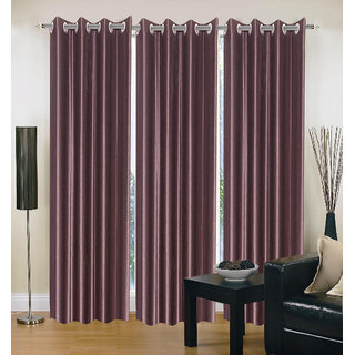 Exclusive Set of 3 Plain Coffee Window Curtain