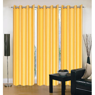 Exclusive Set of 3 Plain Yellow Window Curtain