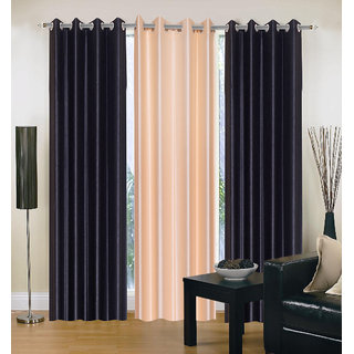 Exclusive Set of 3 Plain (2 Black + Cream) Window Curtain