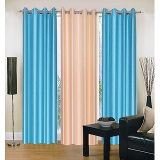 Exclusive Set of 3 Plain (2 Sky Blue + Cream) Window Curtain