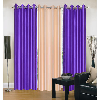 Exclusive Set of 3 Plain (2 Purple + Cream) Window Curtain