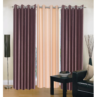 Exclusive Set of 3 Plain (2 Coffee + Cream) Window Curtain