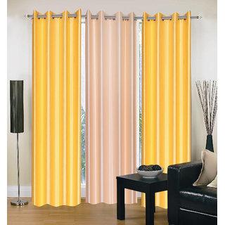 Exclusive Set of 3 Plain (2 Yellow + Cream) Window Curtain