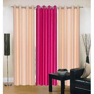 Exclusive Set of 3 Plain (2 Cream + Dark Pink) Window Curtain