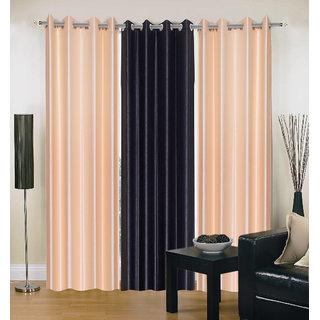 Exclusive Set of 3 Plain (2 Cream + Black) Window Curtain