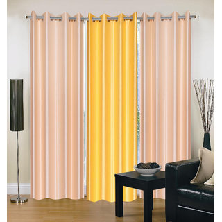 Exclusive Set of 3 Plain (2 Cream + Yellow) Window Curtain
