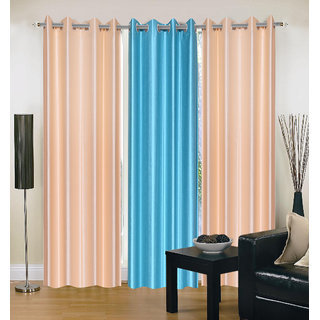 Exclusive Set of 3 Plain (2 Cream + Sky Blue) Window Curtain