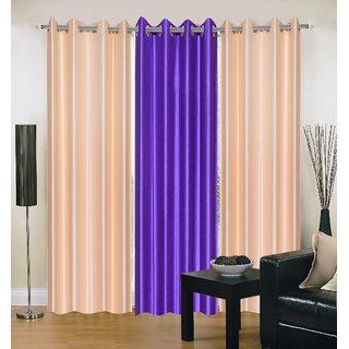 Exclusive Set of 3 Plain (2 Cream + Purple) Window Curtain