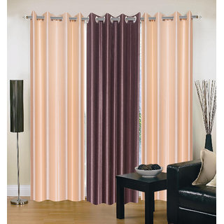 Exclusive Set of 3 Plain (2 Cream + Coffee) Window Curtain