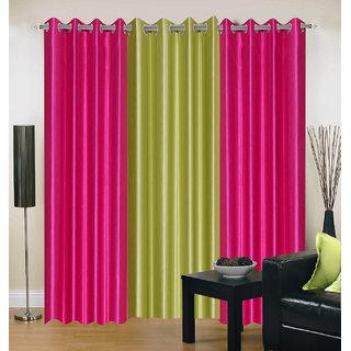 Exclusive Set of 3 Plain (2 Dark Pink + Green) Window Curtain