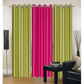 Exclusive Set of 3 Plain (2 Green + Dark Pink) Window Curtain