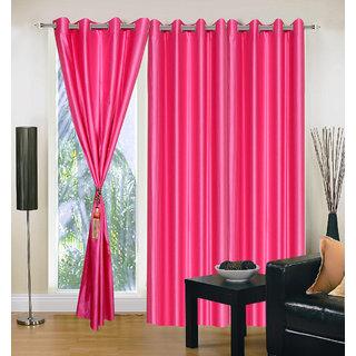 Exclusive Set of 3 Plain Dark Pink Window Curtain