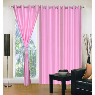 Exclusive Set of 3 Plain Light Pink Window Curtain