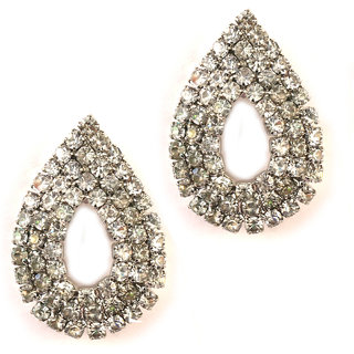 JAZZ Kundan and Pearl Design Silver Colour Alloy Earring (JER312)