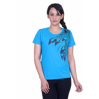 Sellsy Casual Short Sleeve Graphic Print Womens Blue Top