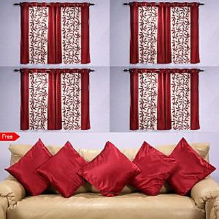 Amaroverseas Brown  Window Curtain Set of 8 With 5 Cushion cover