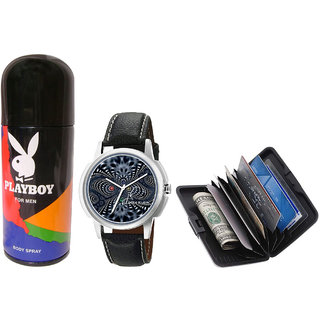 Combo of Playboy Body Spray Jack Klein Stylish Graphic Wrist Watch1204 And Aluma Wallet