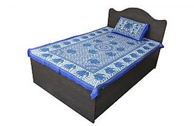 Desi Connection Blue-White Floral Cotton Single Bed Sheet
