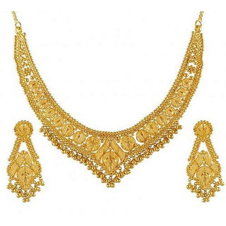 Women Gold Necklace Sets For Party Wear With Golden Colour